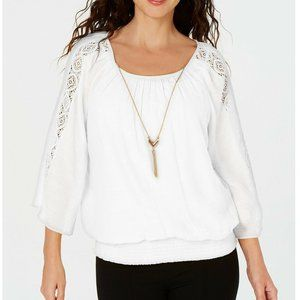 JM Collection 1X White Textured Gauze Top NWT CQ28